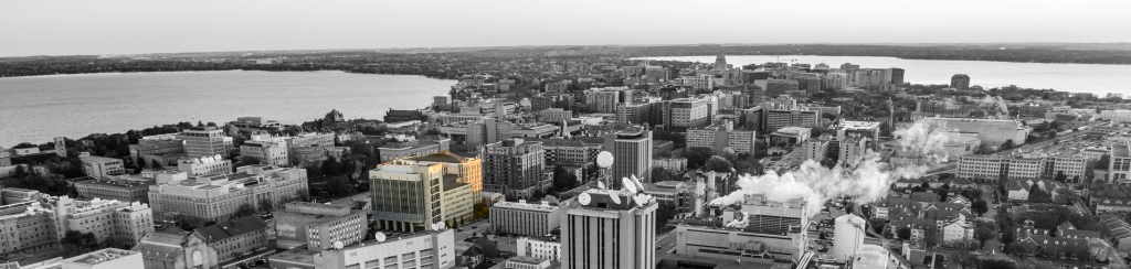 Madison in black and white, with Department of Chemistry building in color